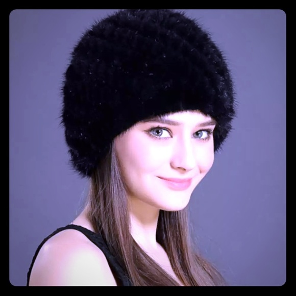 bc1b5ac23824e Real Mink Fur Knitted Stretch Beanie Hat